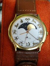 "VINTAGE LOTUS MOONPHASE DISCOVERY WATCH SIGNS OF ZODIAC 1980""NEW OLD STOCK""MENS"