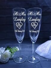 Personalised Engraved Champagne Flute Glasses Pair, In Gift Boxes, Mr and Mrs