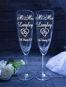 Personalised Engraved Champagne Glasses Pair, Mr and Mrs, Engagement Gift