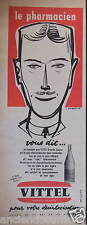 PUBLICITÉ 1958 VITTEL LE PHARMACIEN VOUS DIT VITTEL - J.JACQUELIN - ADVERTISING