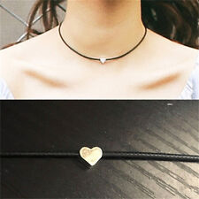 Fashion Women Faux Leather Chokers Chain Heart Necklace Vintage Jewelry Black CL