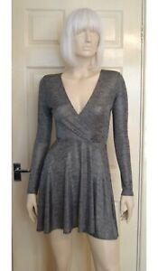 Fabulous Oh My Love Silver Lurex Mini Dress With Flared Skirt Size 10/Small