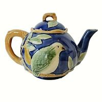 Classic Majolica Partridge In a Pear Tree Tea Pot 1994 by Henriksen Imports