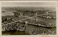 VTG Air Aerial Sky View of 1000 Island Bridge RPPC Photo Postcard A6