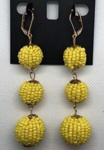 I.N.C. $30 Gold Tone Yellow Beaded Triple Ball Triple Drop Earrings, New    JA26