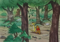 Disney Winnie the Pooh and Rabbit Original Production Cel On Painted Background
