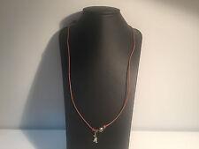 Nuevo - Collar PEARL DESIGN FRANCE - Hilo Marrón + Perla Gris + Lagartija Plata