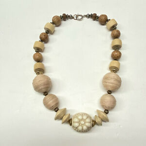 """Wood Bead And Twine Rope 18"""" Necklace"""