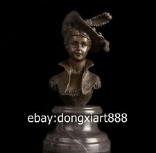 24CM Western Art Deco Pure Bronze Marble Europe Women Girl Fair Maiden Sculpture