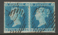 1849 2d Blue  (Pair) Spec ES14 Plate 4 (GG-GH)   Fine Used  with 4 Margins