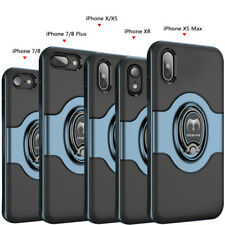 For iPhone XS Max XR X 7 8 Plus Metal Magnetic Ring Holder Stand TPU Case Cover