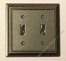 HOME Iron Pewter Metal Double Light Switch Wallplate Wall Plate Outlet Cover