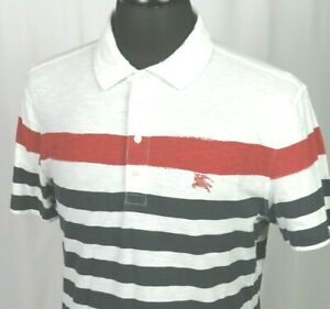 Men's Burberry Brit Short Sleeved 100% Cotton Striped Casual Polo Shirt Large