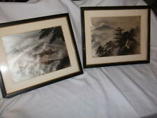 VTG JAPANESE SILK THREAD PICTURE FRAMED HAND EMBROIDERED WALL HANGING ART