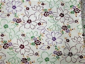 VTG 19X37 PURPLE GREEN FLOWER UNOPEN COTTON FEEDSACK FABRIC QUILT CRAFT PROJECT
