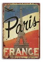 Plaque métal 30 x 20 cm Paris, Tour Eiffel, France, vintage, style émaillée