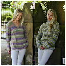 KNITTING PATTERN Ladies Long Sleeve High or V-Neck Rib Jumper Chunky 5317