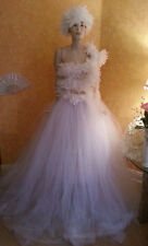 4 Pc White Lace Feather Bandeau Top Tulle Wedding Ball Gown Skirt Sash Hat & Set