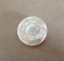 Vintage Genuine Mother of Pearl Flower Floral Single Shank Button 2.25cm