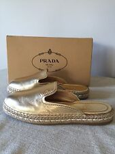 Auth. New PRADA leather Slide Espadrille Mule 39 9 8.5  Gold Argento NIB $490++