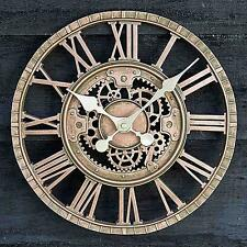 Weather Resistant MECHANICAL Wall Clock Battery Indoor Or Outdoor Use Cogs ROMAN