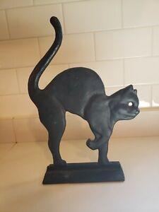 VTG Cast Iron HALLOWEEN BLACK CAT Arched Back Tail Up Doorstop PROP DECOR