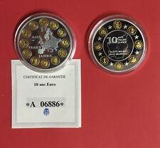 EURO - 10 ANS de L'EURO - LOT 2 MEDAILLES / EUROPA et SAN MARIN - NEUVES / UNC.