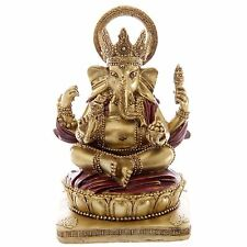 Gold and Red Ganesh Sitting 14cm Ganesha Idol Chandra Nadi Pooja Puja Room