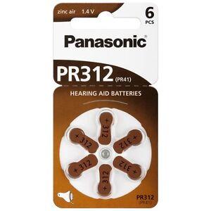 60x Panasonic Worldwide PR312 PR41 Hörgerätebatterien PR-312/6BL 10 Blister