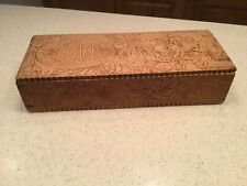 Vintage Old Pyrography Burnt Wood Dresser Box Gloves Floral Foliage Design