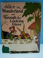 """VINTAGE 1937 """"ALICE IN WONDERLAND AND THROUGH THE LOOKING GLASS"""" HARDCOVER BOOK"""