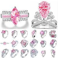 Chic Women Precious  925 Silver Filled  Pink Shining Topaz Gemstone Ring Jewlery