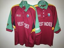 2 x vintage WEST INDIES Slazenger 2007 One Day World Cup cricket shirt L-XL rare