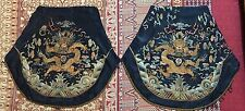 """2 Imperial Qing Dynasty Silk Embroidery Dragon Panel Tapestry 22"""" X 25"""""""