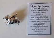 h When Pigs can fly Pocket token Charm Ganz pig figurine be strong have faith