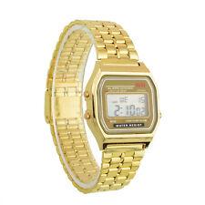Retro Digital Armbanduhr Edelstahl Oldschool Watches Uhr Digital Gold Splitter