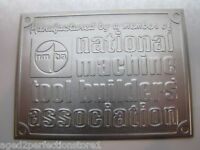 NATIONAL MACHINE TOOL BUILDERS Assn Sign Nameplate machinery equipment