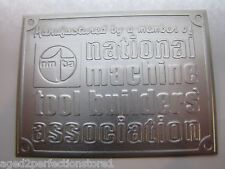Vintage National Machine Tool Builders Assn Sign Nameplate machinery equipment