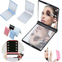 Makeup Cosmetic Folding Mirror with 8 LED Lights Portable Compact Pocket Lamp UK