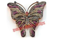 Silver Ruby Sapphire Butterfly Pendant Brooch Antique Rose Cut Diamond 2.30ct &