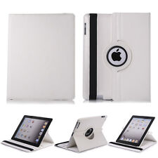 White 360 Rotating PU Leather Folio Case Smart Cover Stand For iPad 2 3 4 Tablet
