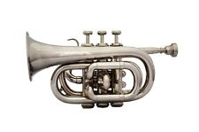 FOR SALE SILVER MINI POCKET TRUMPET Bb FLAT NICE PITCH PROFFESIONAL W/HARD CASE