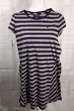 Polo Ralph Lauren Girls Dress Sz 16 XL Purple/Gray Striped