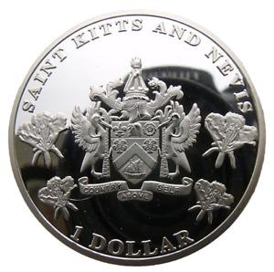 SAINT KITTS & NEVIS - BRITISH CARIBBEAN 1 DOLLAR 2014 40mm PROOFLIKE 200PCS MADE