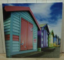 "Maritimes Bild, Foto, Druck auf Leinwand ""Strandhütten"" 60x60cm Wanddeko"