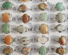 Wholesale Lots Jewelry 10pcs Assorteed Natural Stone Silver Rings FREE Shipping