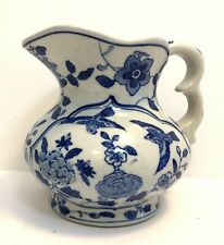 Andrea by Sadek Chinoiserie Pitcher/Vase Blue White Floral with Birds