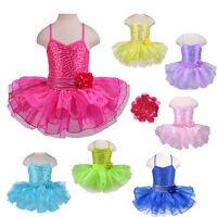 Girls Kids Dance Dress Ballet Tutu Flower 2-8T Pink Purple Stage Show Clothes