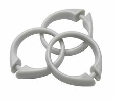 Plastic Shower Curtain Rings/Hooks: 12 Piece Set, Snap Closure, SILVER