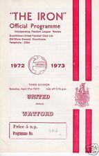 SCUNTHORPE UTD V WATFORD  3RD  DIVISION  21/4/73